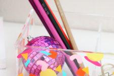 DIY colorful confetti acrylic organizer