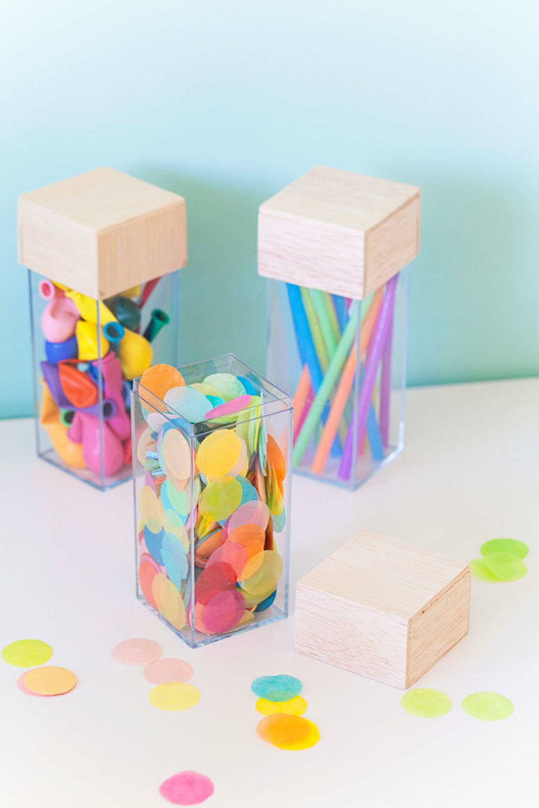 DIY acrylic storage organizers (via tellloveandparty.com)
