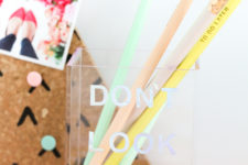 DIY holographic typography pencil holder