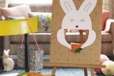 DIY Easter game with feeding a bunny