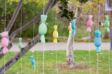 DIY egg popper tree with treats