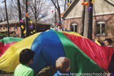 DIY Easter egg parachute game