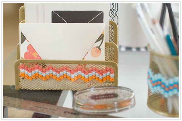 DIY cross stitch office supplies (via camillestyles.com)