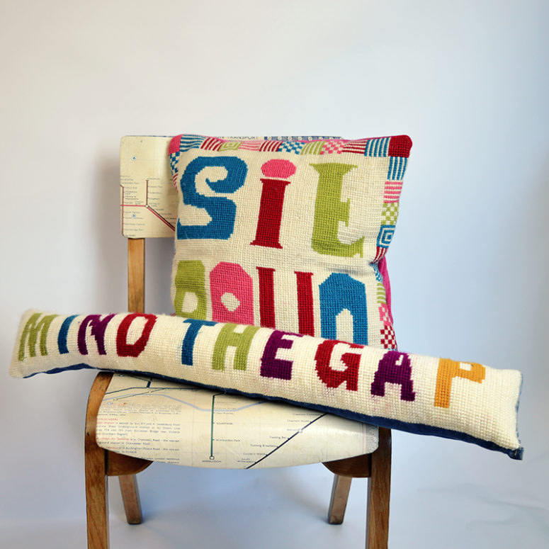 DIY cross stitch funky draught excluder (via www.pillarboxblue.com)