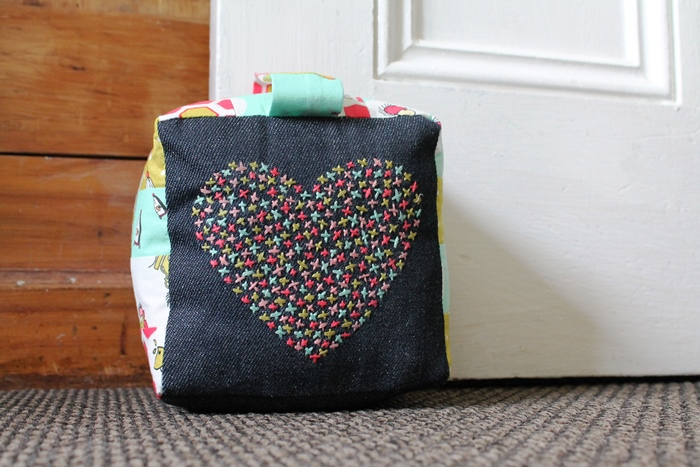 DIY cross stitch patchwork door stop