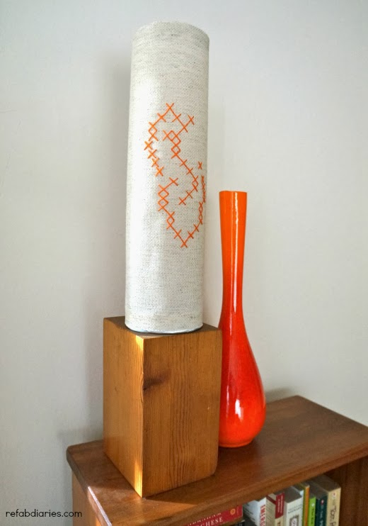 DIY cross stitched upcycled nut container lampshade  (via www.refabdiaries.com)
