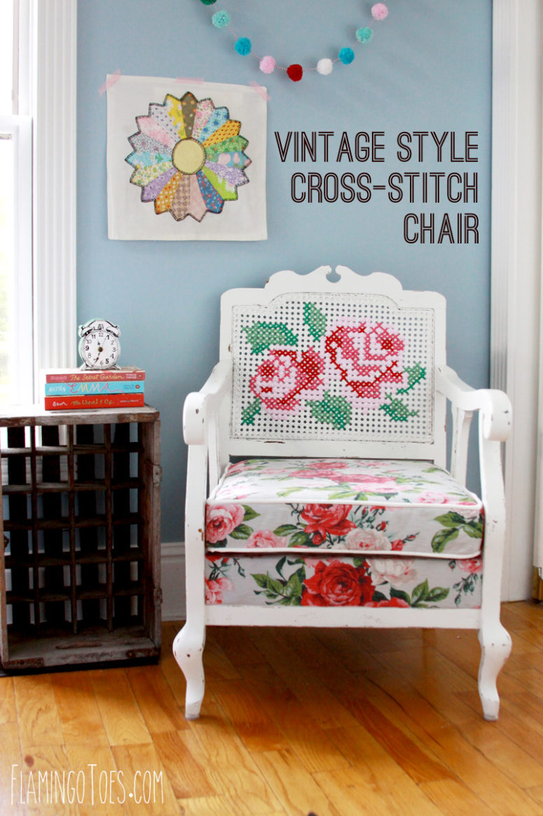 DIY cross stitch antique chair with florals (via flamingotoes.com)