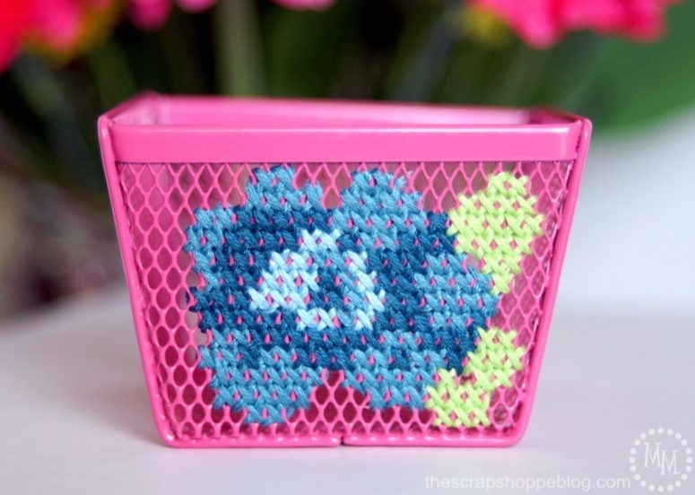DIY cross stitch office storage items (via www.thescrapshoppeblog.com)