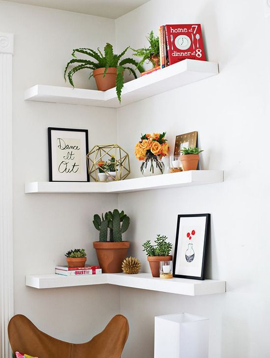 make a trio of corner shelves to decorate an awkward corner and make maximum of it