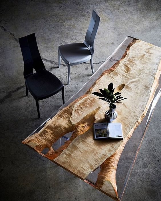 a gorgeous modern desk with live edge wood put into resin will inspire your working