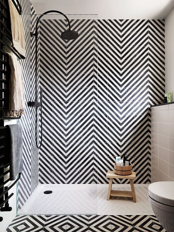 go for a bold look with black and white chevron tiles to make the space wow