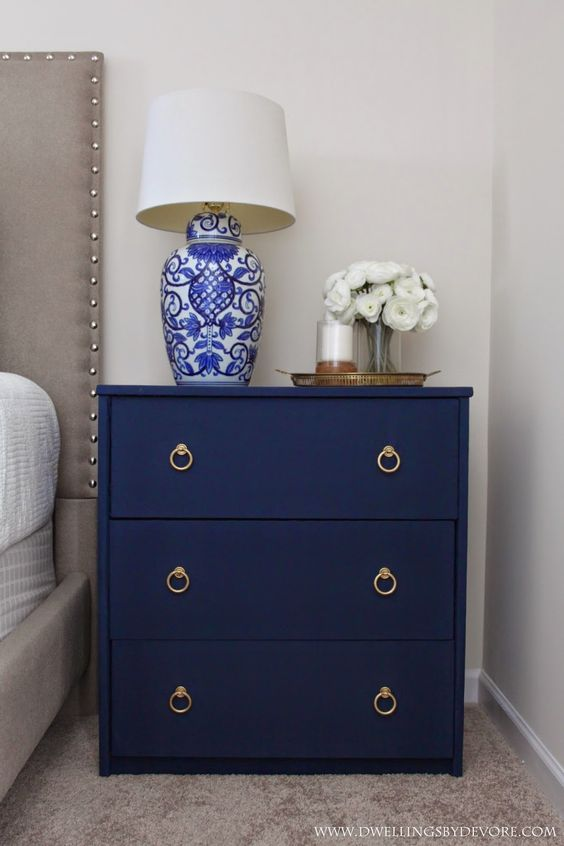 IKEA Rast nightstand fully covered with navy fabric for a textural look and with ring handles