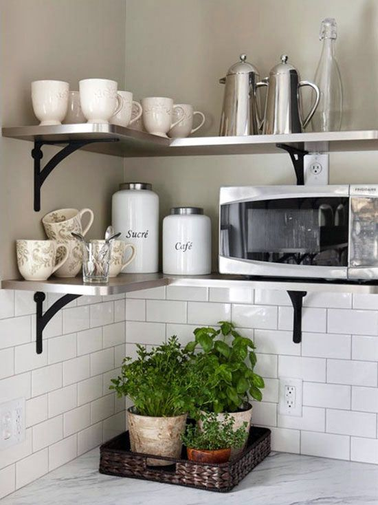 a couple of metal corner shelves will save much space in your kitchen and will make it comfier