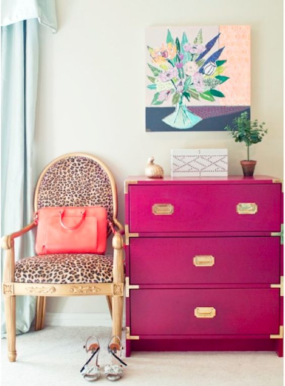add a touch of color and elegance to your IKEA Rast with hot pink and gilded touches for a girlish space