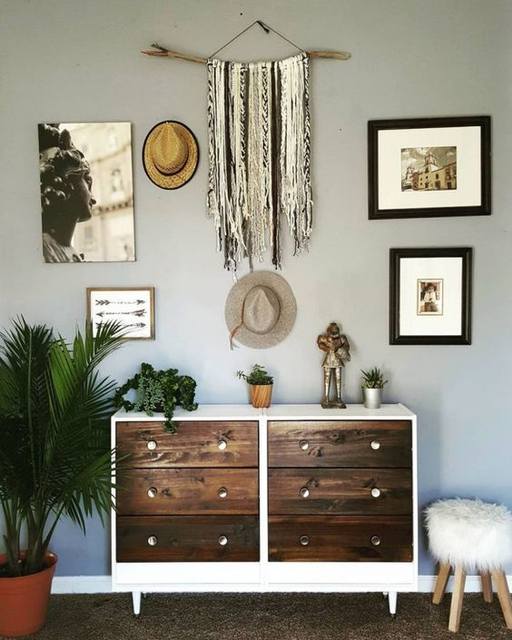attach two Rasts to each other, paint them white and go for dark stained drawers for a boho feel
