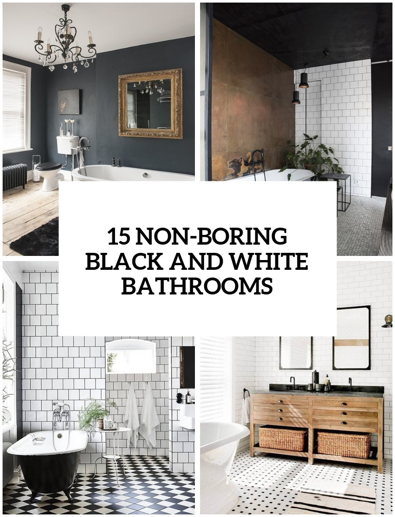 non boring black and white bathroom decor ideas cover