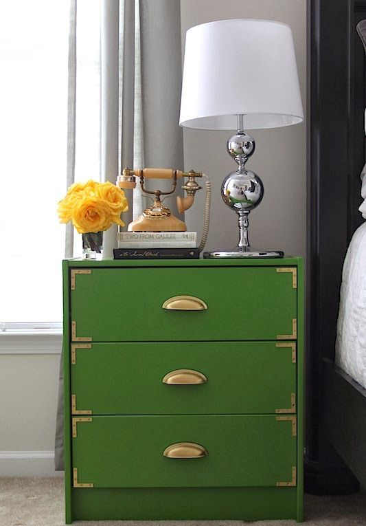 give your Rast nightstand an art deco feel with emerald paint, gilded corners and handles