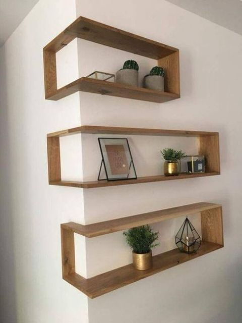 outer corner box-style shelves look very eye-catchy and allow storage without wasting floor space