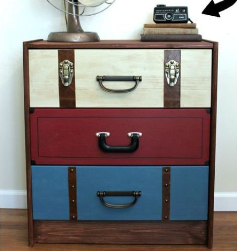 IKEA Rast hack with vintage suitcases ad drawers is a very creative craft to rock