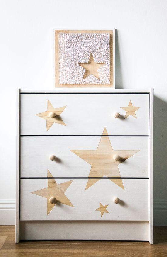 IKEA Rast made more special and dreamy with simple star stencils is ideal for both an adult or kids' space