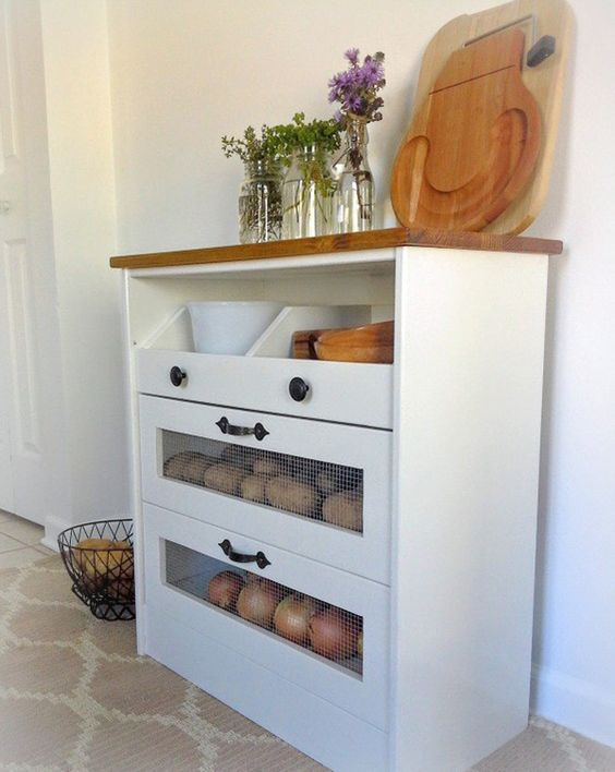 IKEA Rast turned into a rustic kitchen vegetable storage with two drawers and an open shelf plus a wooden countertop
