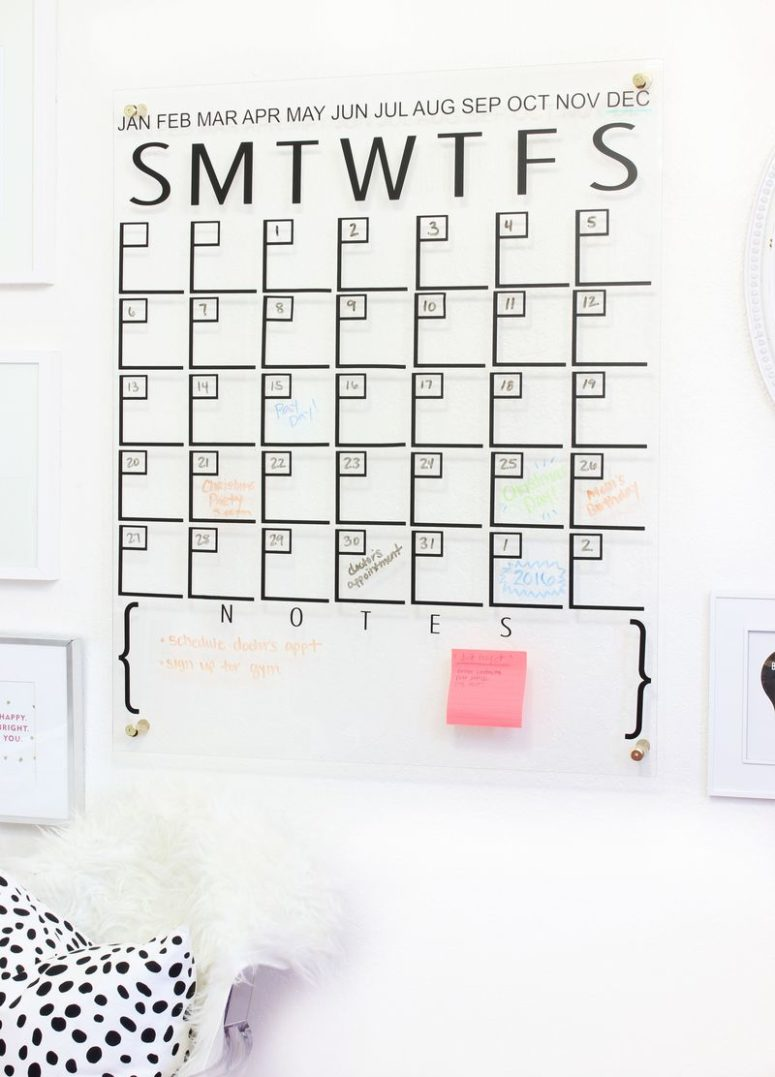 DIY large acrylic calendar with a notes space (via abeautifulmess.com)