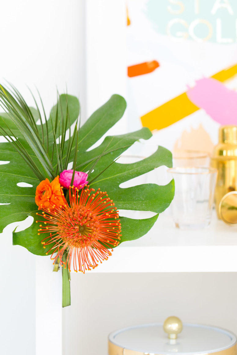 DIY tropical leaf ad flower bar cart swag (via sugarandcloth.com)