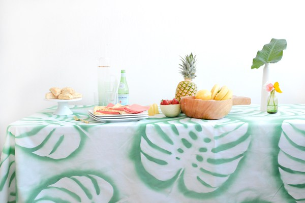 DIY tropical leaf tablecloth (via oleanderandpalm.com)