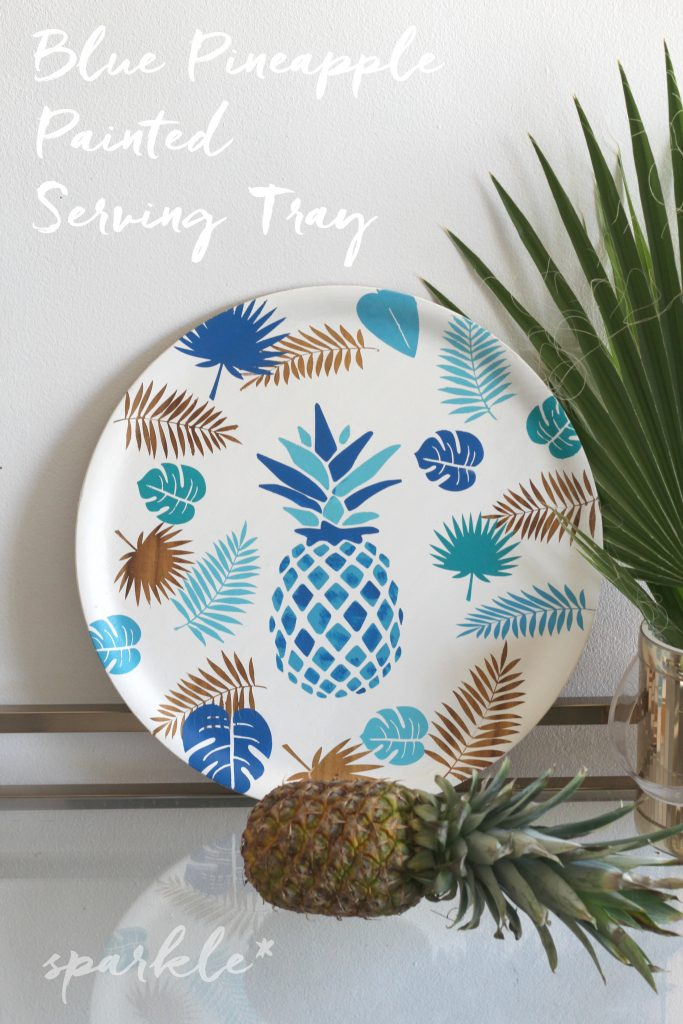 DIY blue and gold pineapple and palm leaf tray (via sparklelivingblog.com)