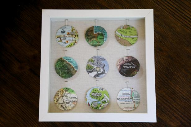 DIY neat travel box with map circles (via www.diynetwork.com)