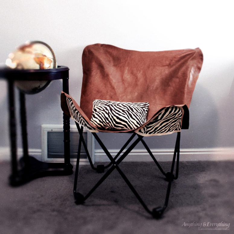 DIY leather butterfly chair cover with zebra print backing fabric (via www.myanythingandeverything.com)