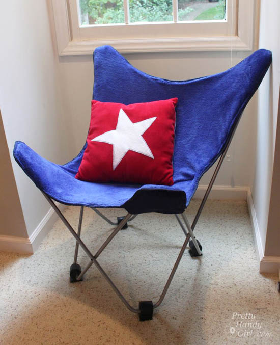 DIY patriotic butterfly chair cover in red, blue and white (via www.prettyhandygirl.com)
