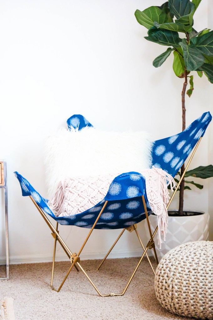 DIY boho chic butterfly chair cover of printed fabric (via theproperblog.com)