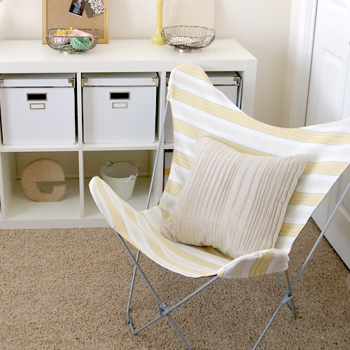 DIY striped and black fabric butterfly chair cover (via www.melissaesplin.com)