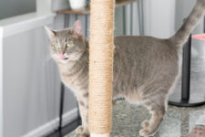 DIY modern geometric cat scratcher with a post