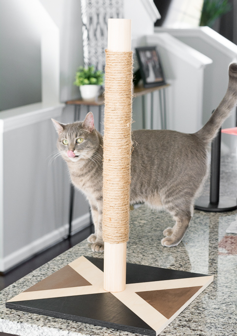 DIY modern geometric cat scratcher with a post (via www.prettyhandygirl.com)