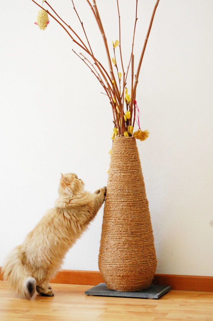 DIY vase sisal rope cat scratcher (via meowlifestyle.com)