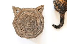 DIY cardboard cat head-shaped scratcher