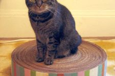 DIY round cardboard cat scratcher with colorful stripes