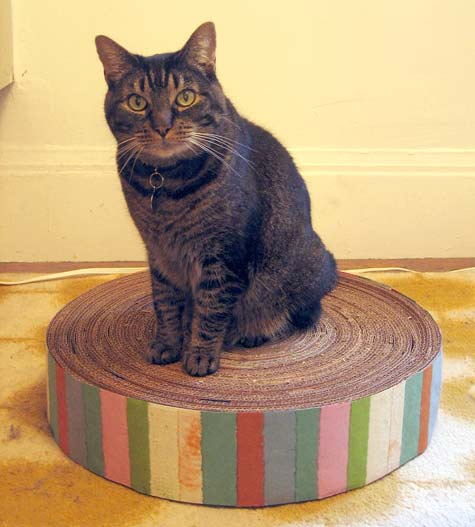 DIY round cardboard cat scratcher with colorful stripes (via www.designsponge.com)