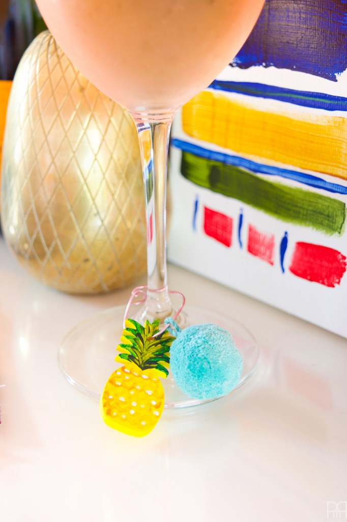 DIY pineapple and pompom glass charms (via www.pmqfortwo.com)