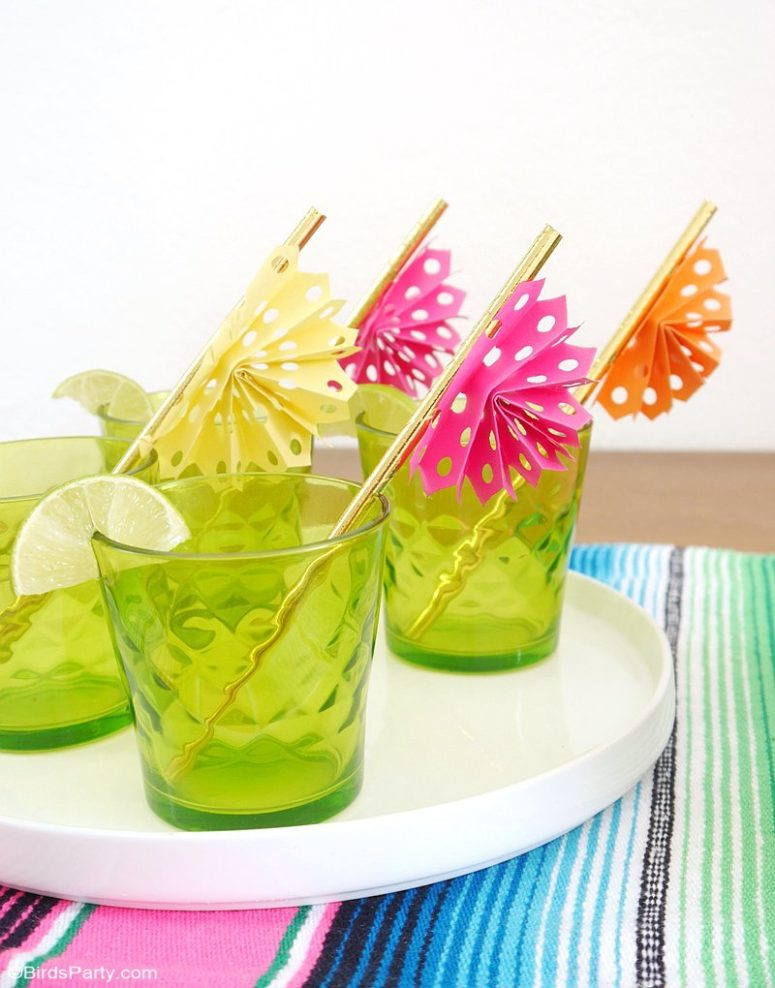 DIY colorful papel picado drink stirrers (via www.blog.birdsparty.com)
