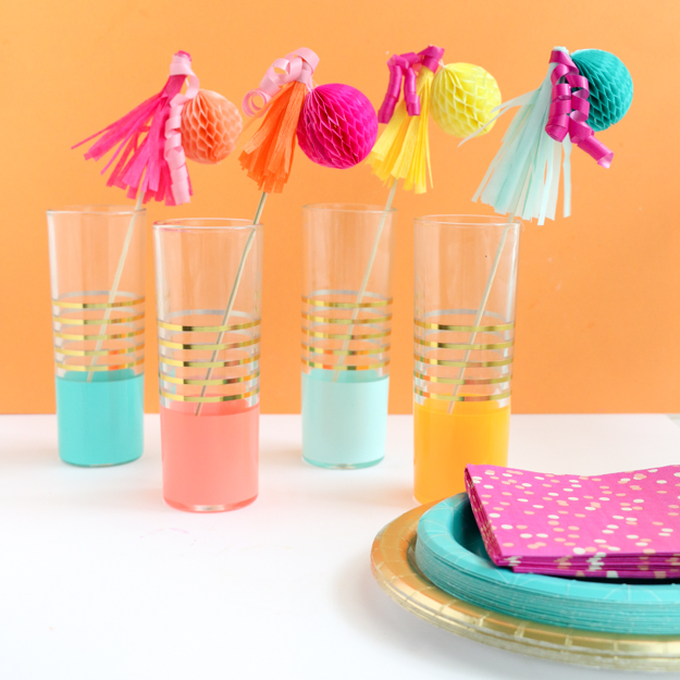 DIY crepe paper tassels and curls drink stirrers