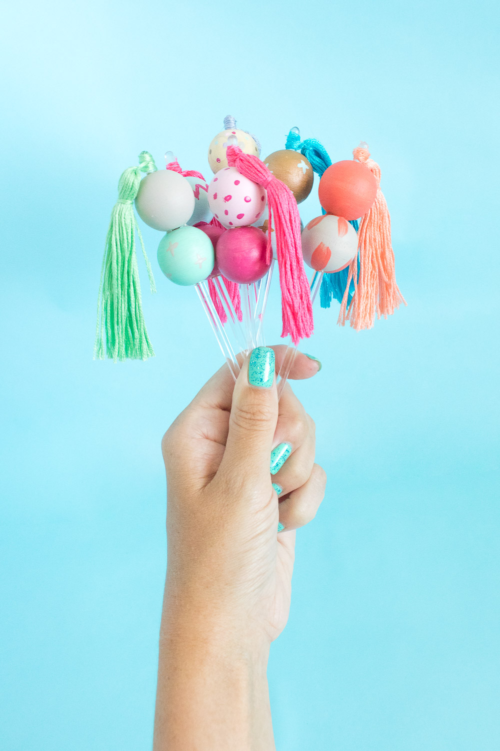 DIY colorful wooden bead drink stirrers