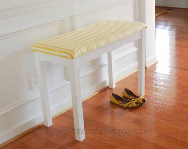 DIY vintage desk turned into a modern entryway bench