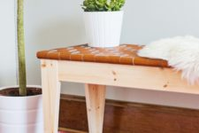 DIY woven leather bench from an IKEA piece