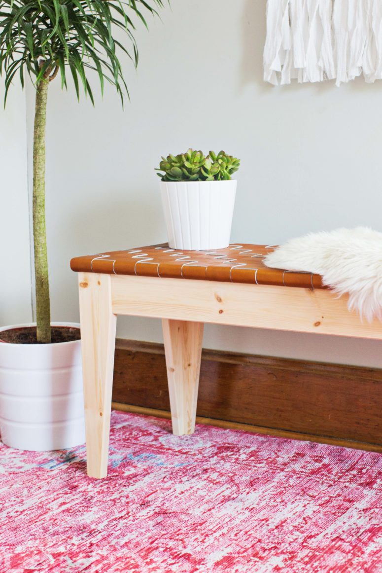DIY woven leather bench from an IKEA piece (via abeautifulmess.com)