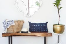 DIY live edge walnut bench with blackened legs