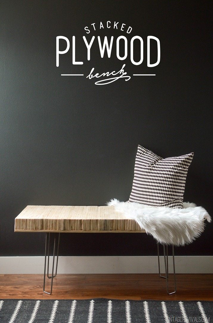 DIY stacked plywood bench with hairpin legs (via vintagerevivals.com)