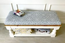 DIY vintage upholstered bench with open storage